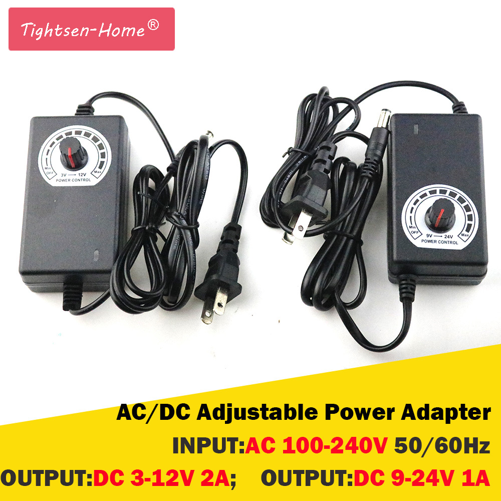 AC/DC Adjustable Power Adapter 24W 9-24V 1A,3-12V 2A, Motor Speed Controller Power Adapter Supply Dimmable 110V 220V EU/US Plug ac dc adjustable power supply adapter 3 12v 5a voltage display speed control us plug ali88