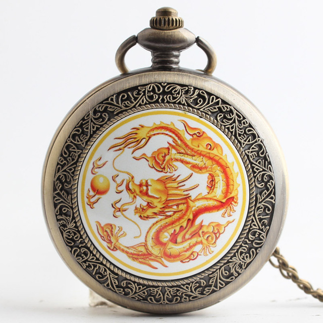 Fashion Bronze Dragon Alloy Retro Style Quartz Pocket Watch Necklace for Men Wom