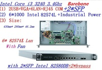 INTEL I3 3240 3.4Ghz 1U rack type firewall server with 6*1000M 82574L Gigabit LAN 2*bypass Support ROS/RouterOS etc Barebone PC