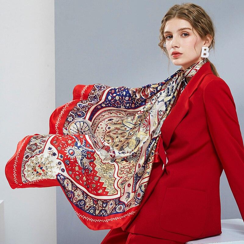 Femmes 100% véritable foulard en soie carré de luxe 2019 Hangzhou soie Wrap, châles pour dames imprimer Hijab 110*110 cm carré foulards en soie