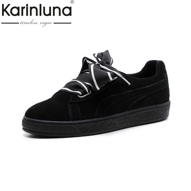 KARINLUNA cow leather Women Flats Vintage lace up Platform Shoes fashion Woman cow suede Leisure Loafers Spring Shoes ramsey tile floors – installing maintaining and repairing paper only
