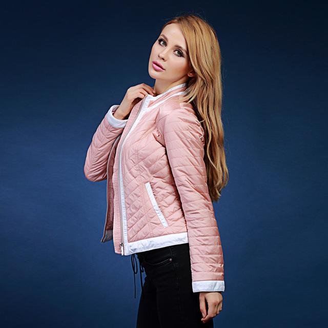 Primavera e no outono revestimento das mulheres de algodão-acolchoado jaqueta feminina projeto short rosa e amarelo outerwear Para a Europa ea Rússia V118