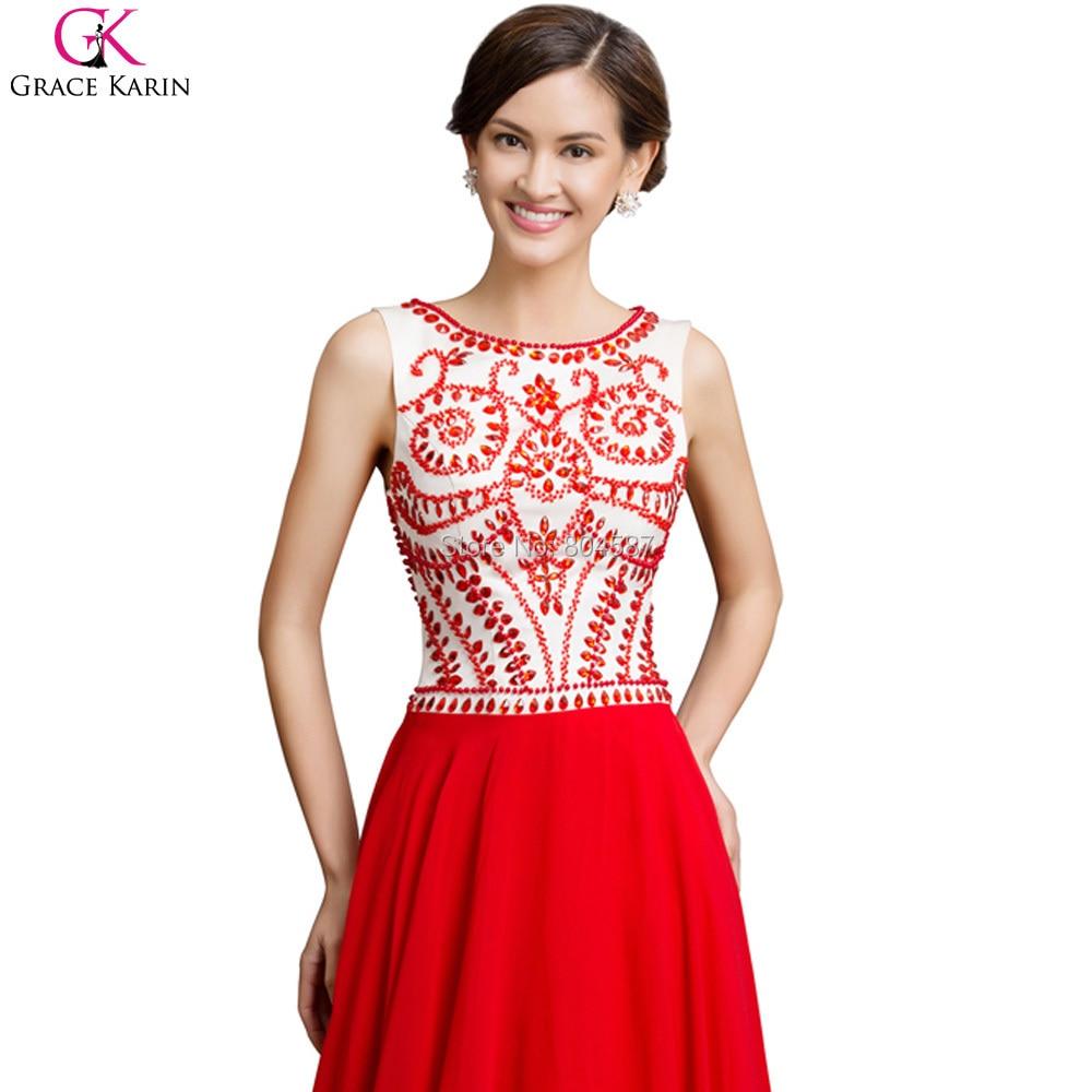 Abito Da Sera Long Grace Karin Red Vestido Noite Chiffon Formal ...