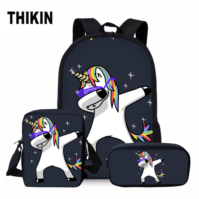 THIKIN 3pcs/set Unicorn School Bag Set For Kids Boys Girls School Backpacks Shoulder Bagpack Children Bookbag Satchel