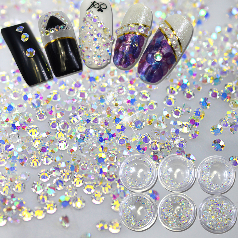 New ab color transparent shiny 3d nail art decoration flat for 3d nail art decoration