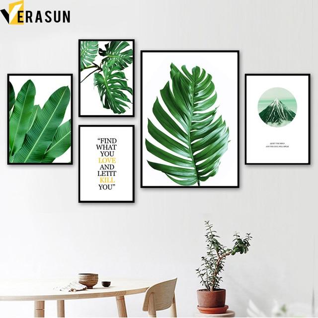 Monstera Palm Blätter Berg Landschaft Wand Kunst Leinwand Malerei Nordic Poster Und Drucke Wand Bilder Für Wohnzimmer Decor
