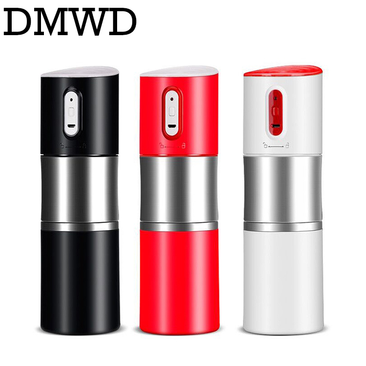 DMWD MINI automatic Italian coffee maker pot USB rechargeable stainless steel thermal Espresso heating machine cafe bean grinder