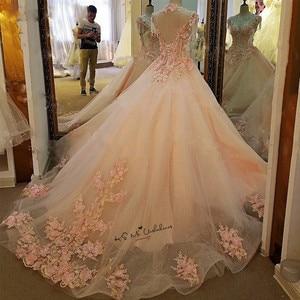 Image 2 - Женское винтажное свадебное платье, розовое фатиновое платье с жемчужинами и цветами, выполненное на заказ, 2018