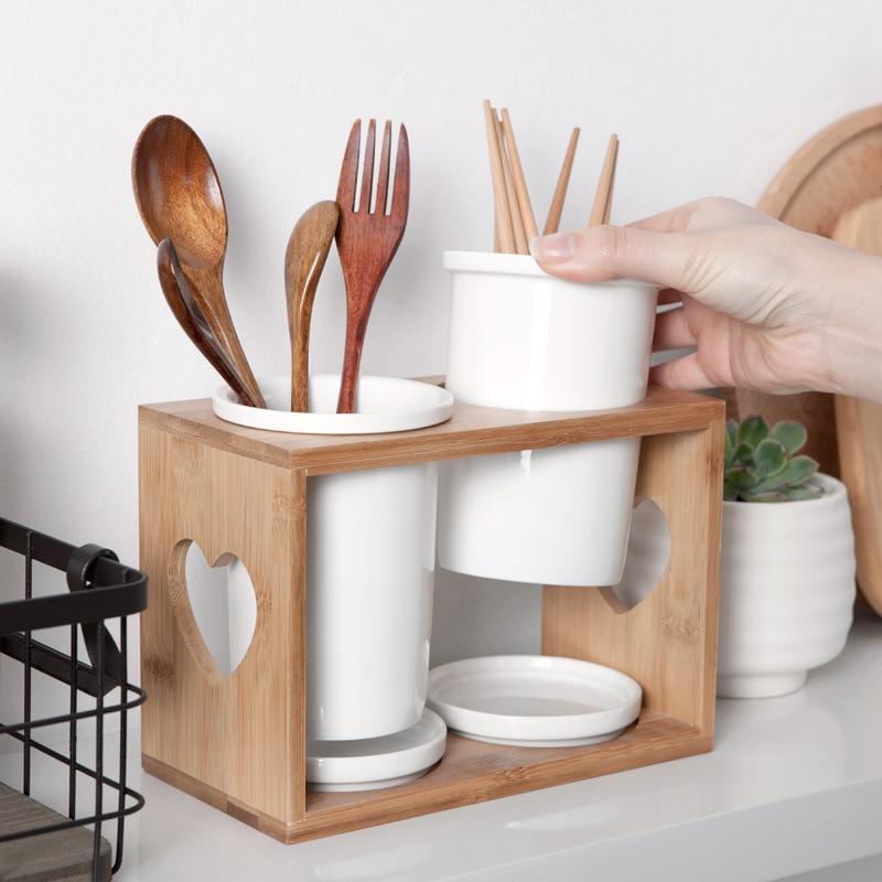 Unibird Creative Drain Ceramic Chopsticks Holder Bamboo Chopsticks Cage Rack Mildew Cutlery Storage Barrel Kitchen Gadget