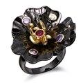 Dc1989's special mujeres anillos de flores único negro y chapado en oro amatista y Siam Bisel Configuración Circonita Plomo y Níquel envío