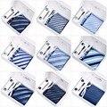 2017 New Arrivals Alta Qualidade 8 CM Laços Estabelecidos para Homens Prendedores de Gravatas Abotoaduras Quadrado Bolso Lenço Dos Homens Listrados Casamento gravata