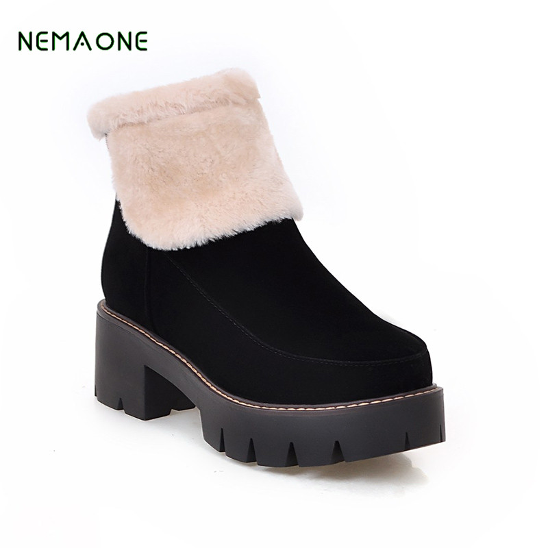 NEMAONE 2017 New Autumn Winter Women Fuax Suede Leather Shoes Woman Vintage Square High Heels Ankle Boots Fashion Snow Boots цены онлайн