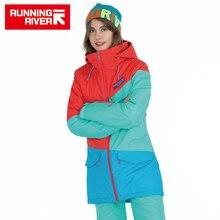 FIUME che scorre Donne di Marca di Snowboard Giacche Per Linverno Caldo a Metà coscia Sport Allaria Aperta Abbigliamento di Alta Qualità Sport Jacket # A6042