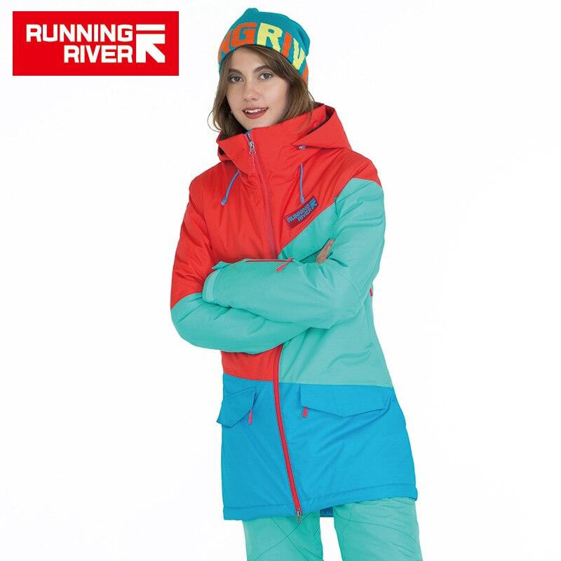 RIVIÈRE qui COULE Marque Femmes Snowboard Vestes Pour L'hiver Chaud Mi-cuisse Sports de Plein Air Vêtements Haute Qualité Sport Veste # A6042