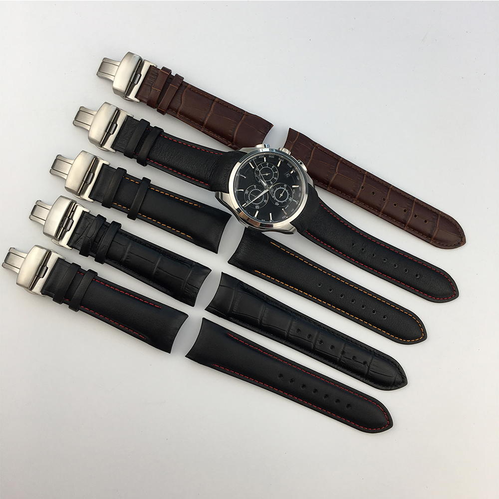 Genuine Calf Leather Watchband Watch Band Strap for Tissot COUTURIER T035 T035617 627 T035439 Watch Band 22 23 24mm Brush Buckle in Watchbands from Watches