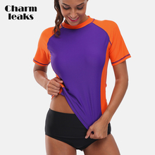 Charmleaks Short Sleeve Rash Guard Shirts Women Rashguard Swimwear Surfing Top Running Shirt Biking Swimsuit UPF 50+
