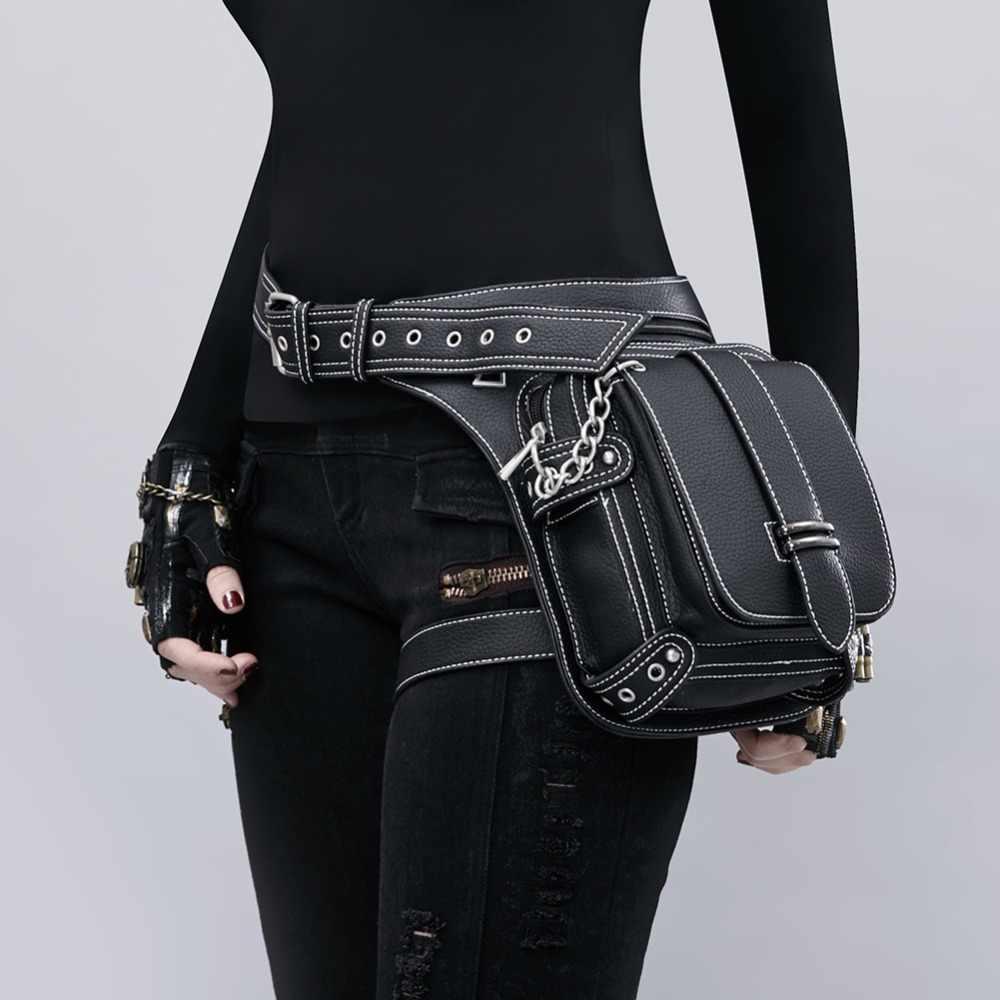 198e68998113 New arrivel Jungle Rock gothic bag Tribe cyber punk thigh bags women  leather waist bag motor