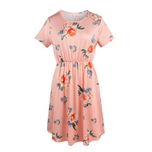 dress women plus size womens clothes summer pink dresses girls gothic elegant clothing vintage print o-neck floral party