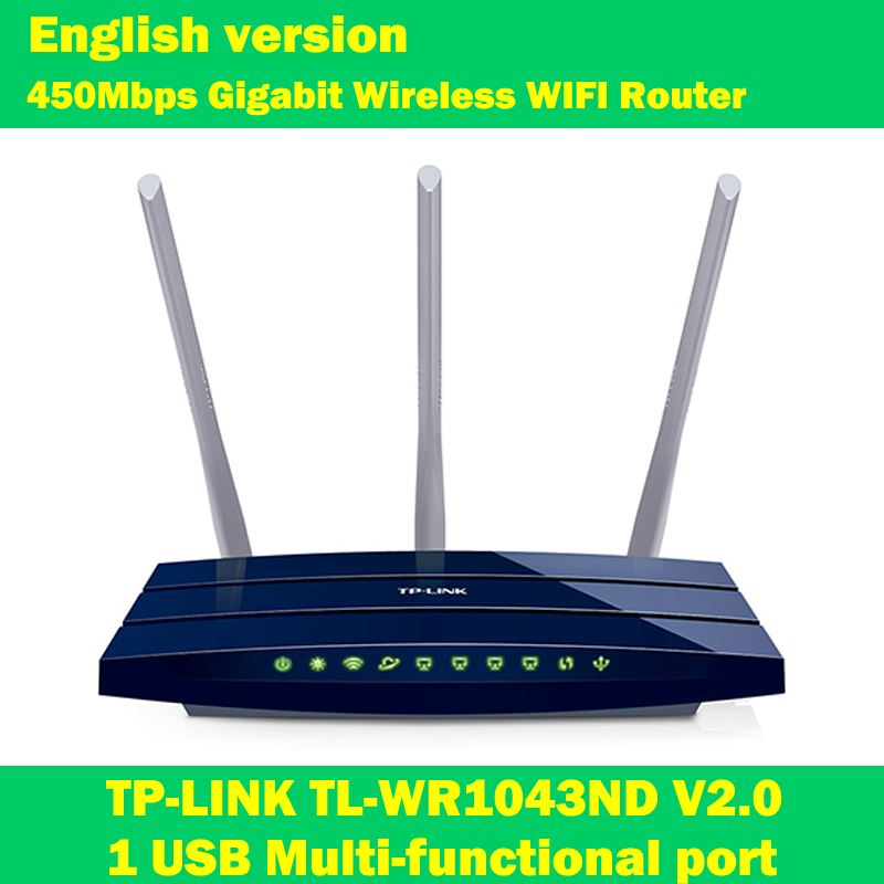 English firmware TP-LINK TL-WR1043ND 450Mbps 802.11n/g/b Gigabit Wireless wifi Router WI-FI Extender 3*5dBi antenna 1 USB port wi fi роутер tp link td w8961n