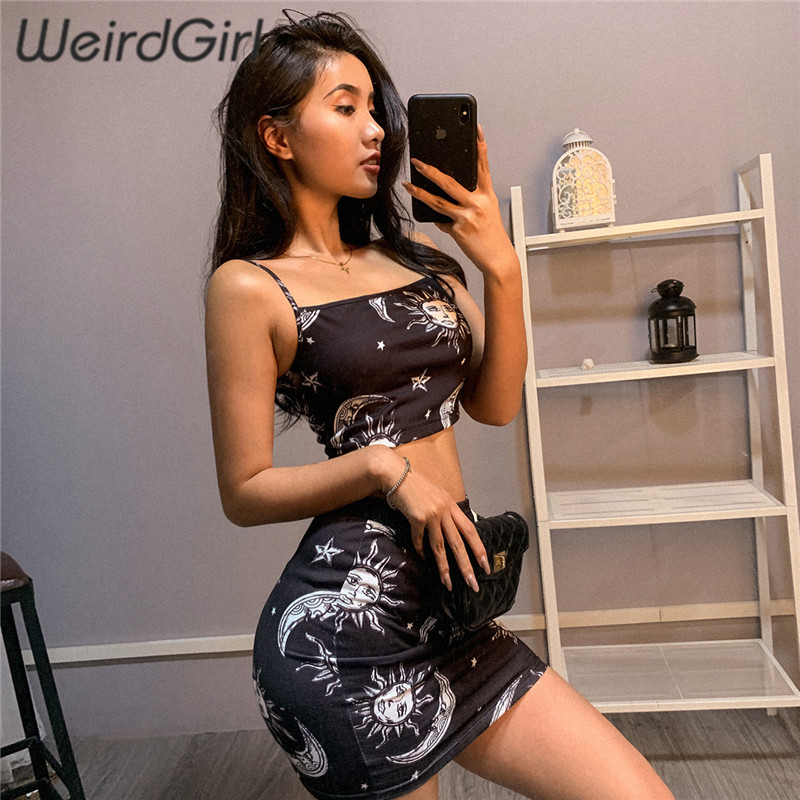 Weirdgirl Women Sets 2 Pieces Sun Moon Star Print Slash Neck Sleeveless Slim Femme Crop Tops Mini Skirts Party Club Sexy Summer