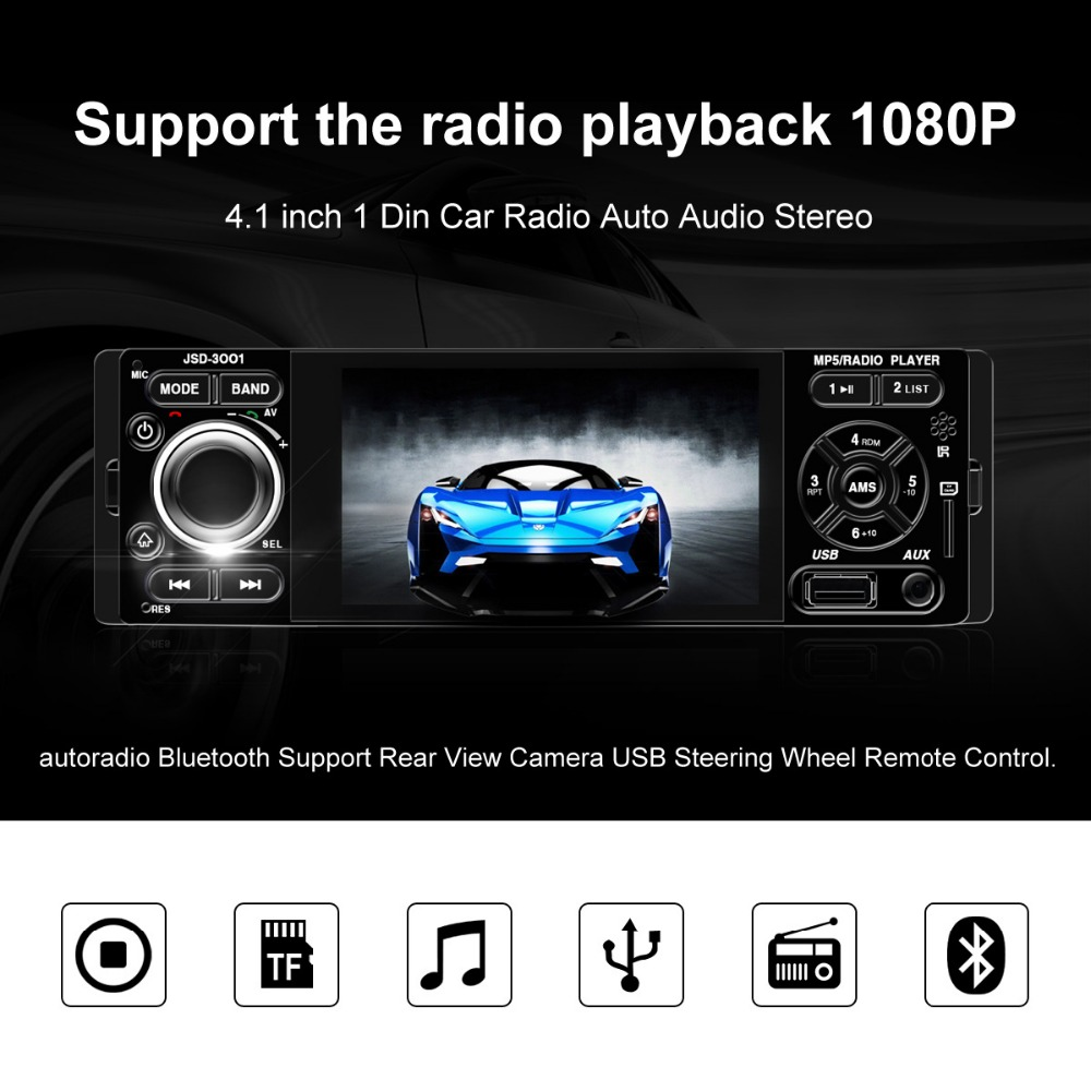 Touch screen Car Radio Auto Audio Stereo 4.1 inch 1 Din FM Bluetooth 12v Support Rear View Camera USB FM MP4 MP5 USB autoradio car mp5 player 12v car vedio radio 4 inch hdtft screen bluetooth rear view camera stereo fm radio mp4 mp5 audio video usb sd tft