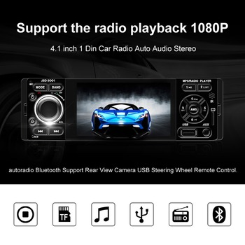 Touch screen Car Radio Auto Audio Stereo 4.1 inch 1 Din FM Bluetooth 12v Support Rear View Camera USB FM MP4 MP5 USB autoradio image
