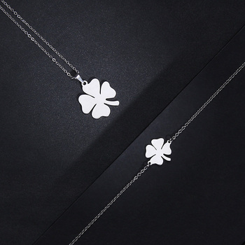 CACANA Stainless Steel Sets For Women Clover Shape Necklace Bracelets Earrings 5