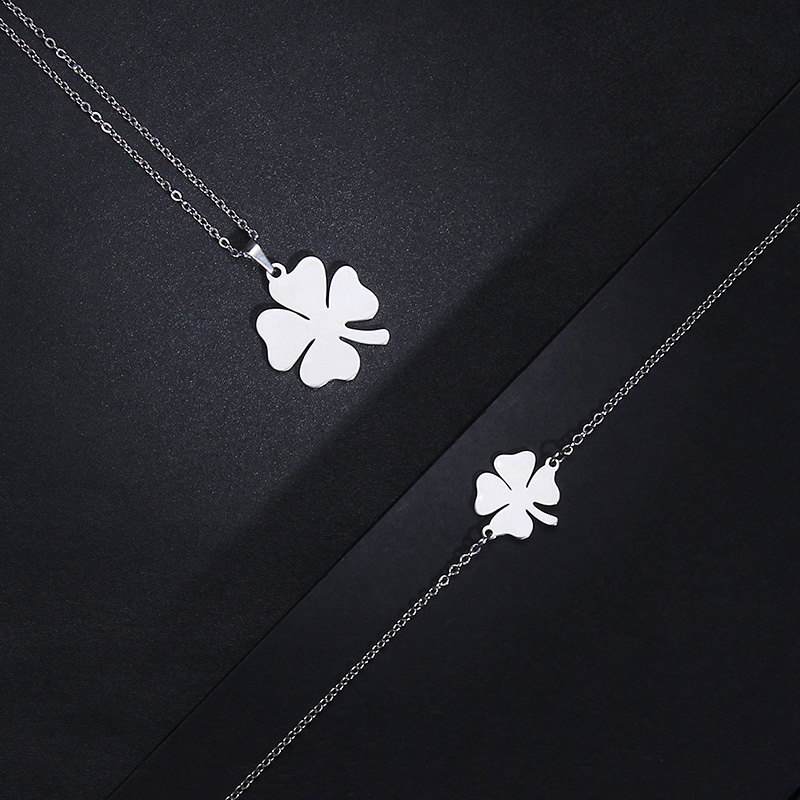 Cacana Stainless Steel Sets For Women Clover Shape Necklace Bracelets Earrings For Women Lover's Engagement Jewelry S79 #6
