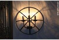 Лофт американский пастырской Стиль бра личности клетка Винтаж настенный светильник полукруг 2 Светильник Бра настенный светильник led
