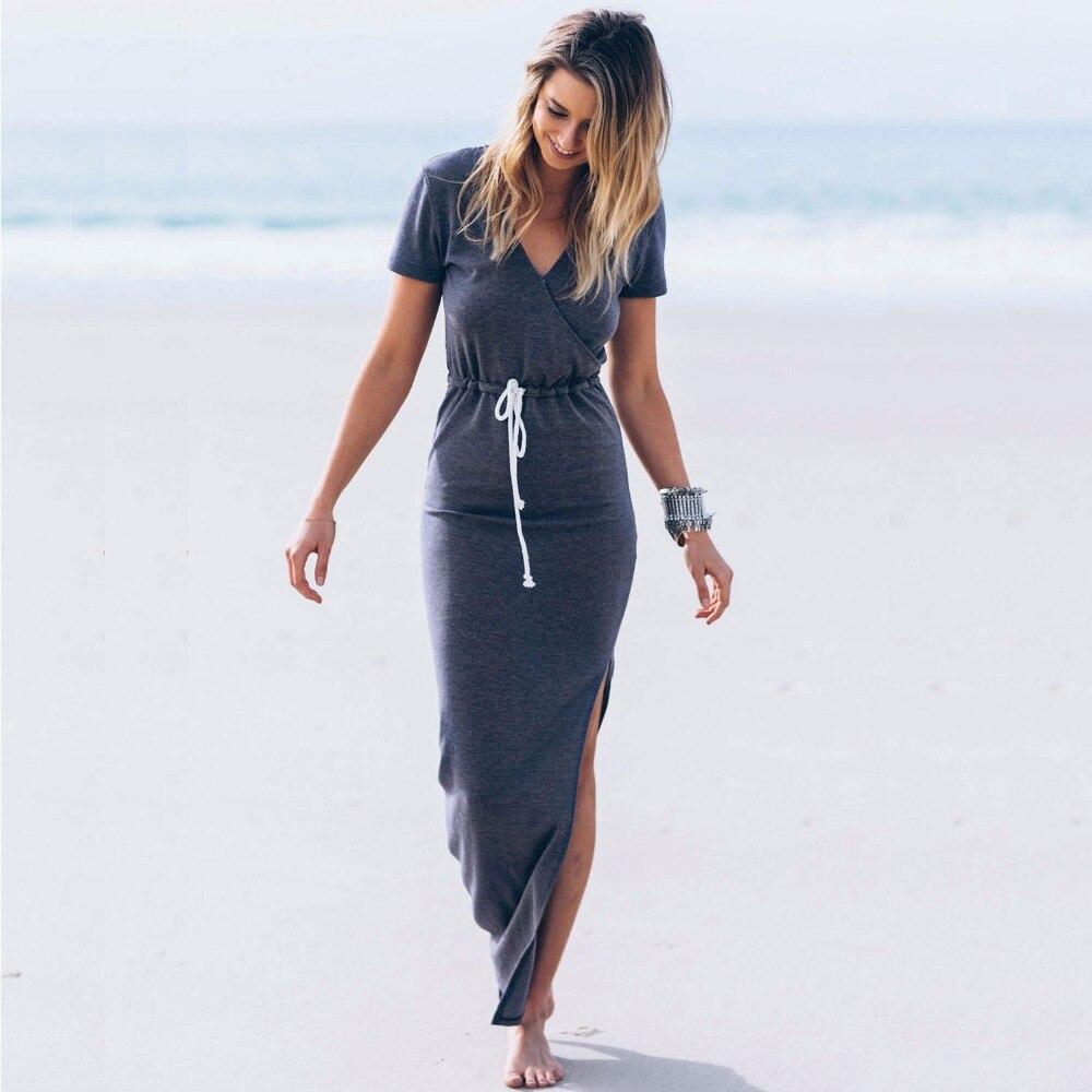 Bodycon Sash Long Maxi Beach Wear Dress Women 2017 Casual Pencil ...