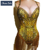 Christia Bella Gold Rhinestones Tassel Jumpsuit Stretch Crystals Bodysuit Women Sexy Nightclub Stage Costumes Pole Dance Leotard