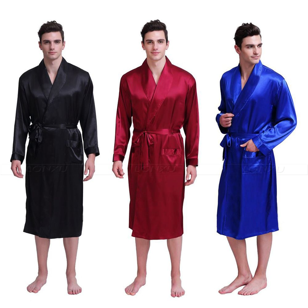Mens  Silk  Satin  Robes  Bathrobe  Nightgown  Sleepwear  Pajamas  Pyjamas  S~3XL  Plus__Fit All Seasons