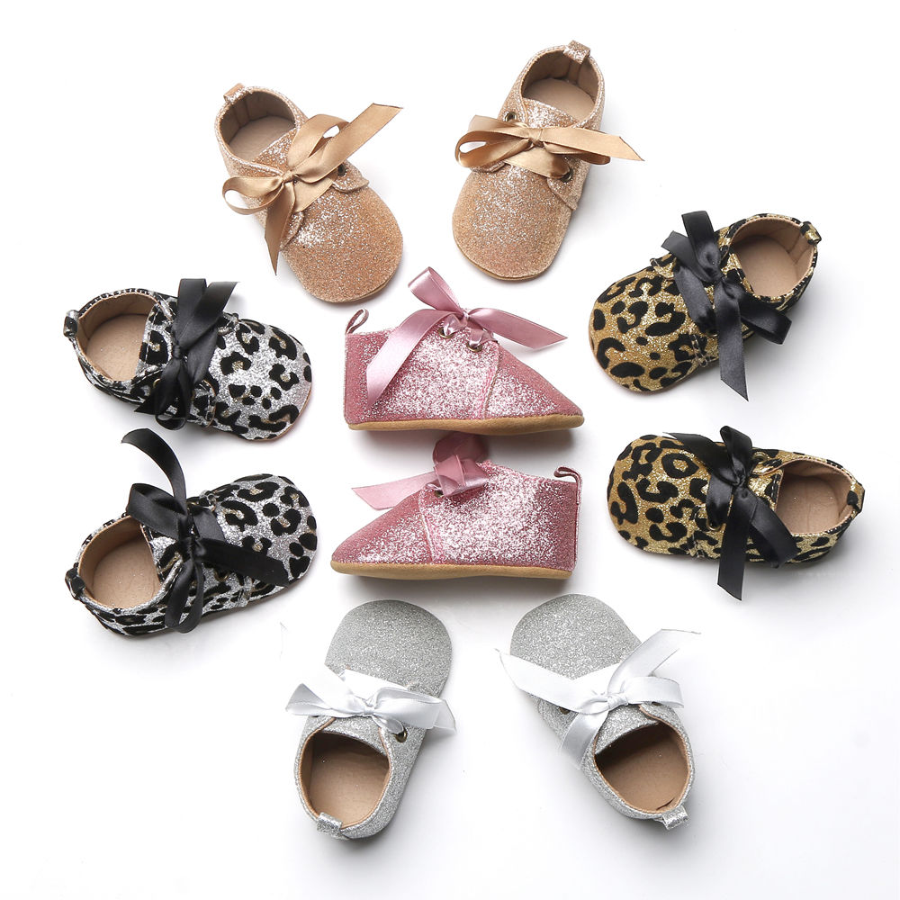 2017 New Infant Baby Boy Girl Glitter Trainers Soft Sole Pram Shoes Leopard Bow Baby First Walkers Shoes 0-18M