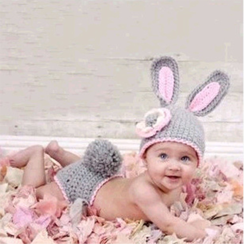 DreamShining Cute Rabbit Baby Hats Handmade Knitted Caps Beanie Crochet Newborn Photography Props Infant Sleeping Bag Sets