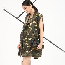 [soonyour] 2017 New Korean summer autumn Camouflage green Cowboy sequins Vest jacket women cool street style VH2676
