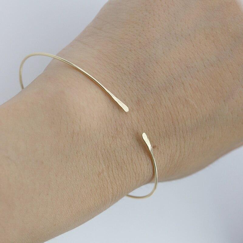 PINJEAS Hammered Stacking Bangle Cuff Minimalist Bracelet Textured Bangle Adjustable Bangle Open Bangle birthday