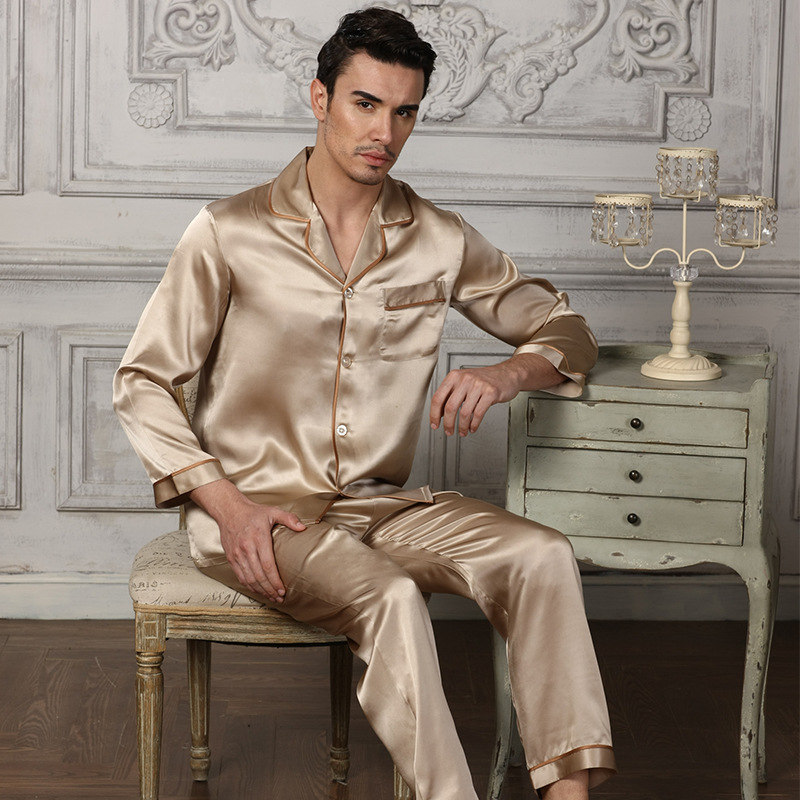 2019 New Genuine Silk Pajamas Man Two-Piece Sets 100% Silkworm Silk Sleepwear Male Comfortable Home Wear 16195