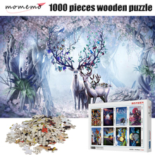 MOMEMO Elk In Forest 1000 Pieces Jigsaw Puzzle Wooden for Adult Decompression Creativity Puzzles Toys