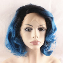 Free Shipping New Lace Wavy Short Wigs Synthetic Lace Front Wig Heat Resistant Hair Ombre Black Root To Blue Women Wigs.