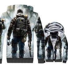 Tom clancy's The Division 3D Print Hoodie Men Game Hooded Sweatshirt Winter Thick Fleece Warm Zip up Coat Plus Size 5XL Jacket цена 2017