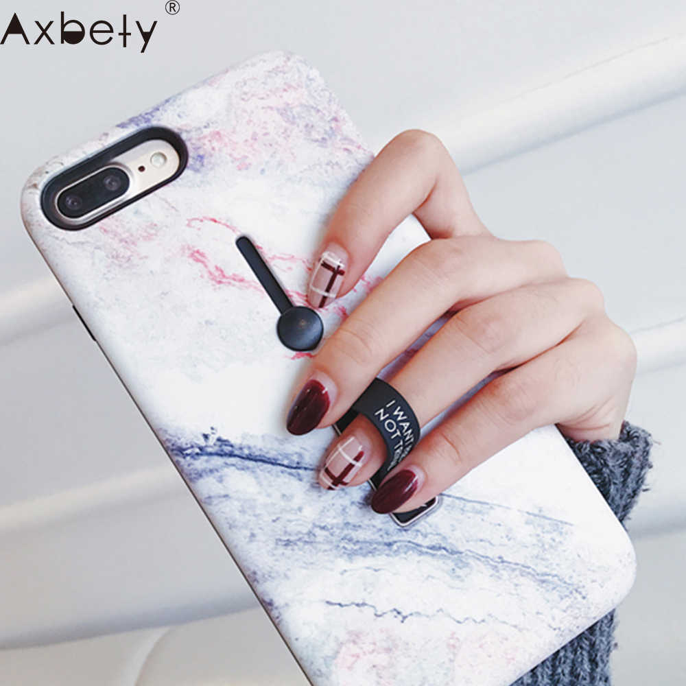 AXBETY For iPhone 7 7 Plus 8 Plus X XS MAX XR Fashion 3D Relief Marble Loop Ring Phone Cases For iPhone 7 6S Case Stand Cover