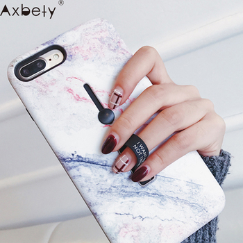AXBETY For iPhone 7 7 Plus / 8 Plus X / XS MAX/XR Fashion Marble silicon Loop Ring Phone Cases For iPhone 7 Case Stand Cover 6S