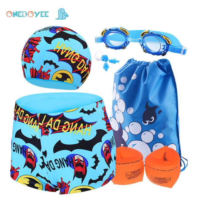 Kids Swimwear 6 PCS Sets 3-10 Year Boys Swimming Polyester Trunks Children Swimsuit Baby Beach Wear Bathing suit