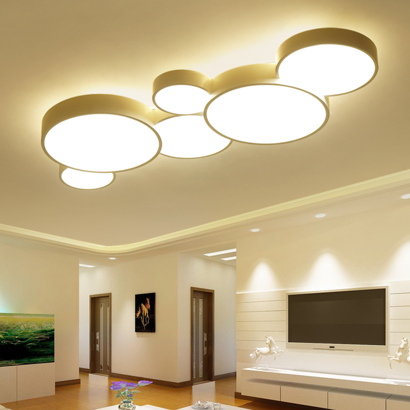 2017 Led Plafonniers Pour La Maison Gradation Salon Chambre Luminaires Moderne Plafond Lampe Luminaire Lustre