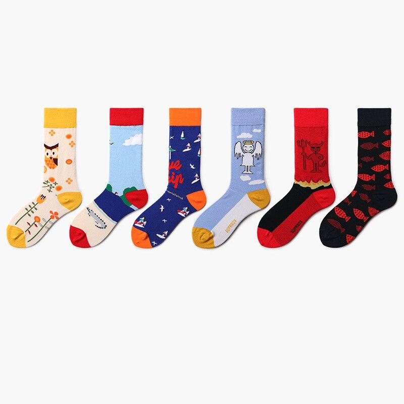 Funny Cartoon Angel Devil Pattern Socks Women Harajuku Cool Skateborad Sokken Colorful Art Fashion Cotton Hipster Happy Socks