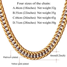 Chain Necklace Men Gift Two Tone Gold Color Collier Dropshipping Vintage Trendy Rapper Long Necklace Mens Jewellery N437