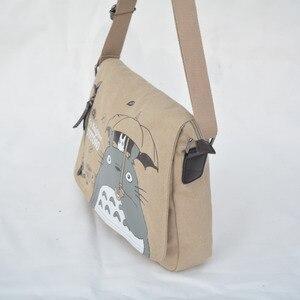 Image 2 - Fashion Totoro Crossbody Bag Women Messenger Bags Canvas Shoulder Bag Cartoon Anime Neighbor School Letter Tote Handbag