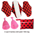 Mama Cloth Menstrual Pad Reusable Sanitary  Feminine Pads Washable 3 PCS Bamboo Cloth Pads+2 MENSTRUAL CUPS+1 Mini Wet Bag