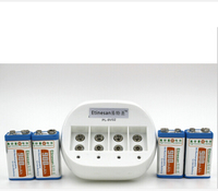 4 pcs ETINESAN 9v 900mAh li ion Rechargeable Battery +charger Flashlight, camera, shaver, radio, remote control, desk lamp toy