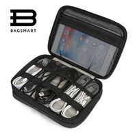 BAGSMART Electronic Accessories Travel Bag Nylon Organizer For SD Card USB Cable Kindle IPad Charger Portable